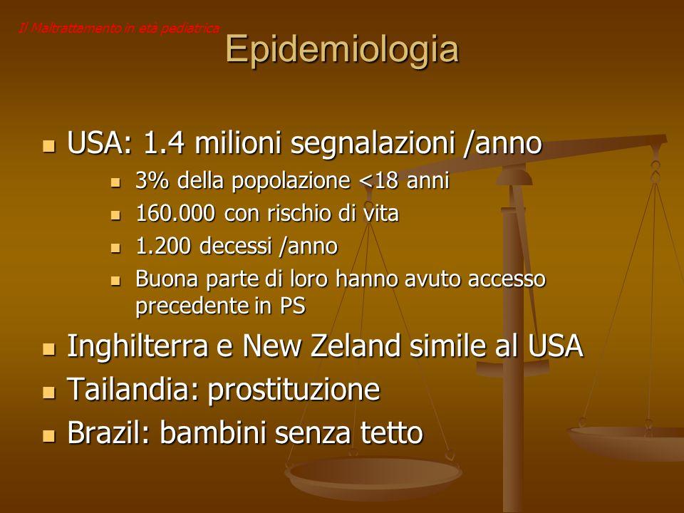 Il Maltrattamento in età pediatrica Epidemiologia USA: 1.4 milioni segnalazioni /anno USA: 1.4 milioni segnalazioni /anno 3% della popolazione <18 ann