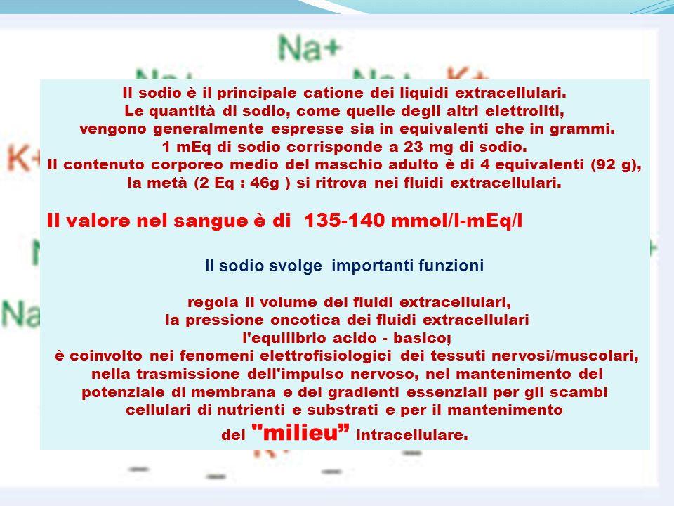 Il sodio è il principale catione dei liquidi extracellulari. Le quantità di sodio, come quelle degli altri elettroliti, vengono generalmente espresse