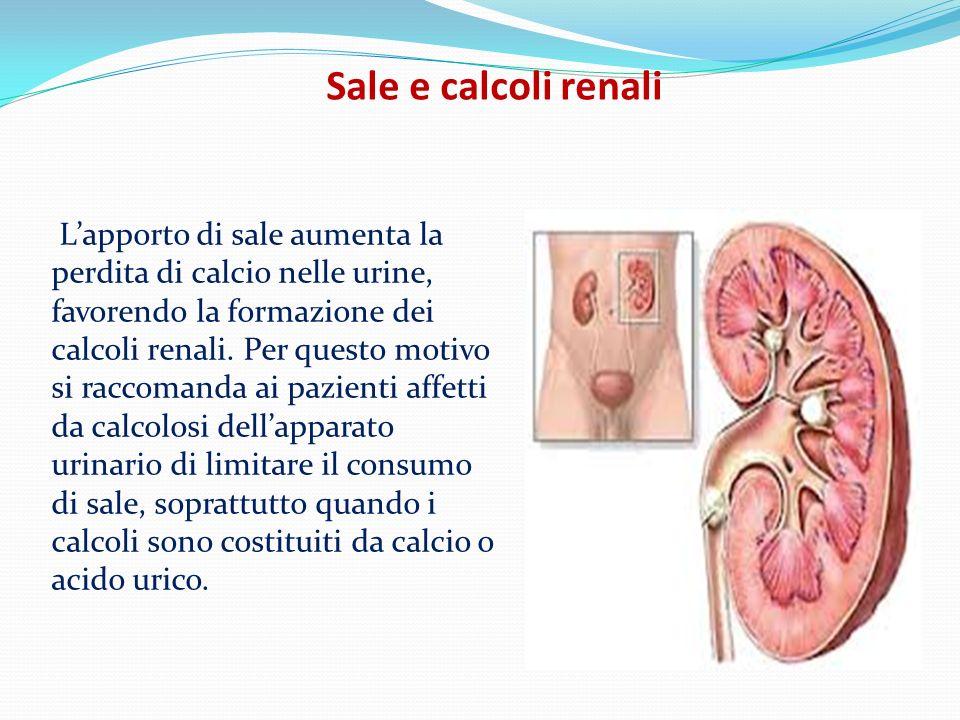 Sale e calcoli renali Lapporto di sale aumenta la perdita di calcio nelle urine, favorendo la formazione dei calcoli renali. Per questo motivo si racc