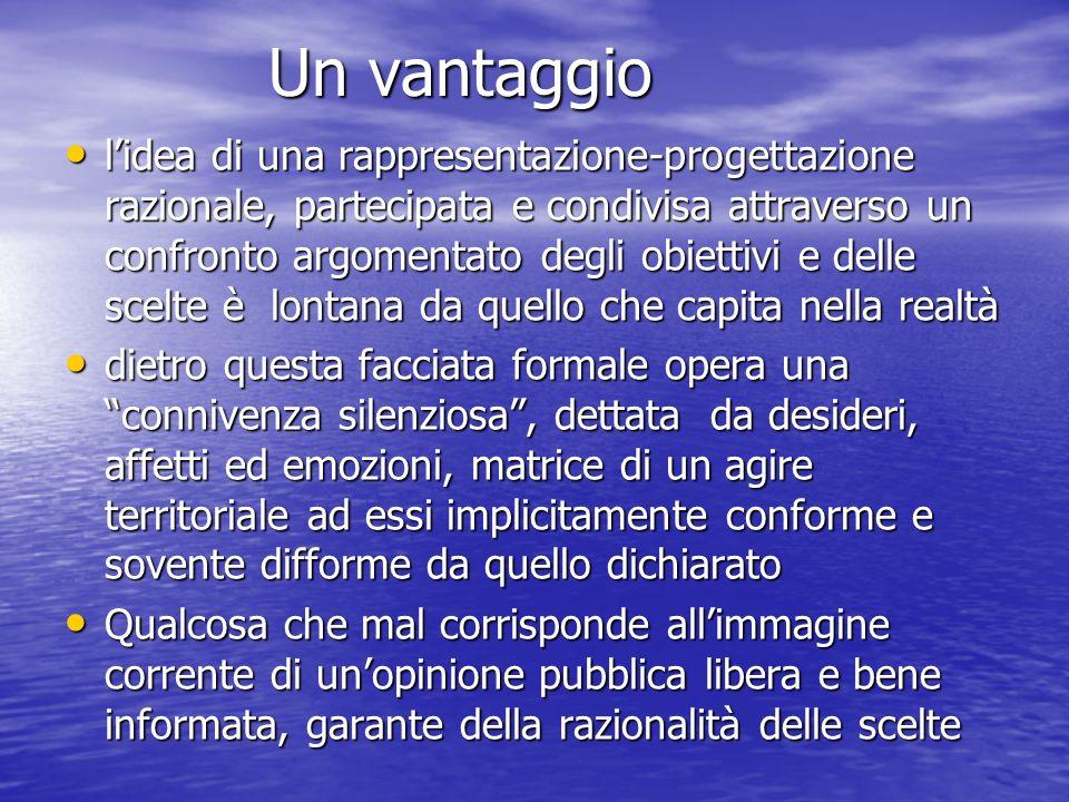 Un vantaggio Un vantaggio lidea di una rappresentazione-progettazione razionale, partecipata e condivisa attraverso un confronto argomentato degli obi