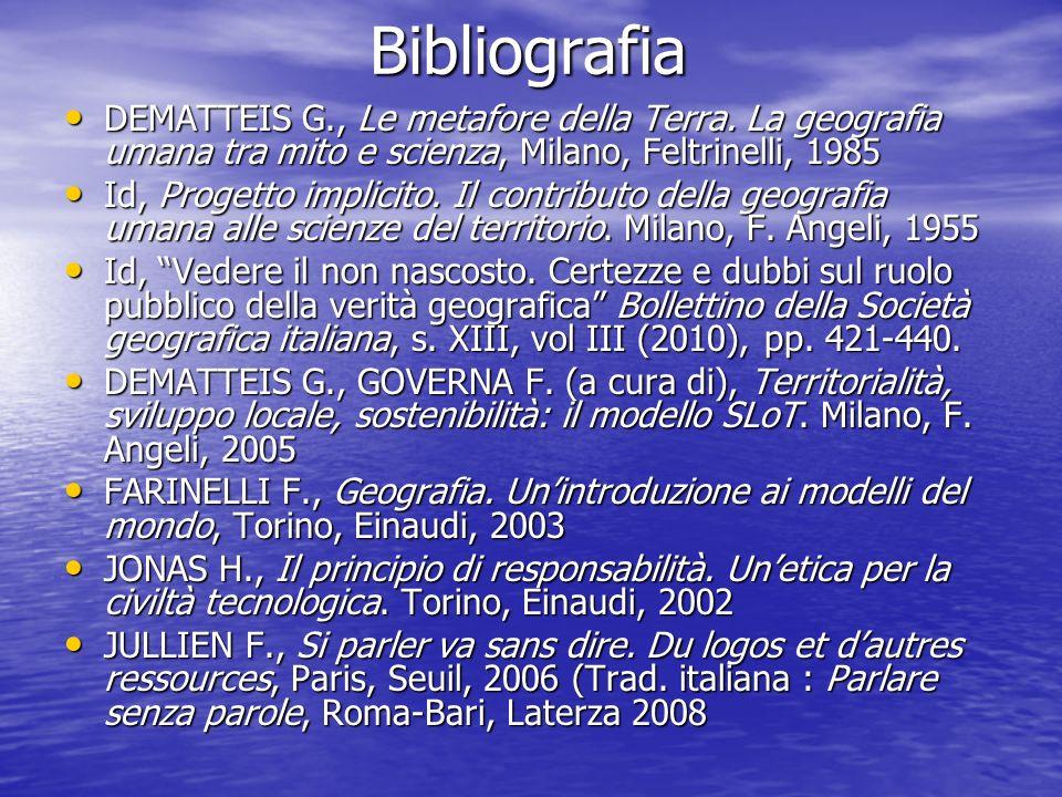 Bibliografia Bibliografia DEMATTEIS G., Le metafore della Terra. La geografia umana tra mito e scienza, Milano, Feltrinelli, 1985 DEMATTEIS G., Le met
