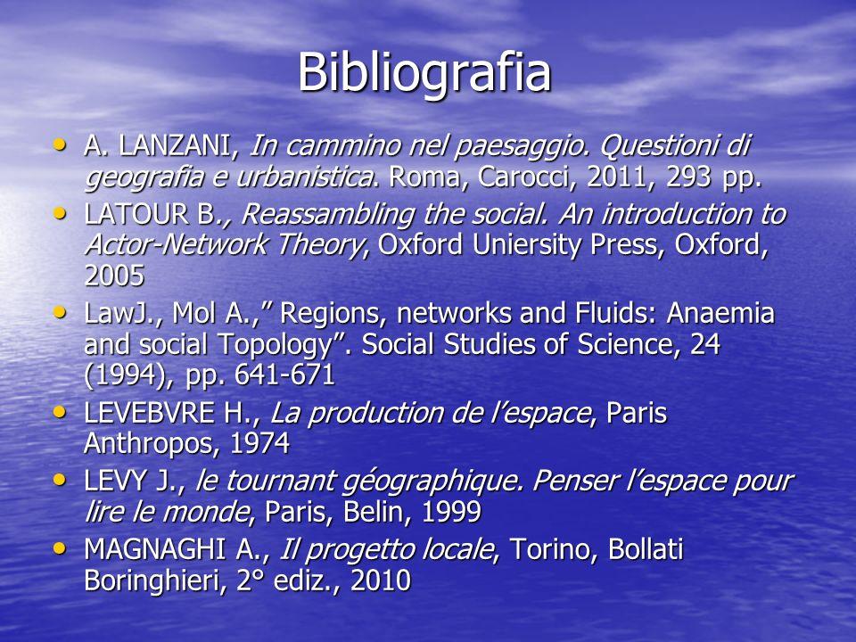 Bibliografia Bibliografia A. LANZANI, In cammino nel paesaggio. Questioni di geografia e urbanistica. Roma, Carocci, 2011, 293 pp. A. LANZANI, In camm