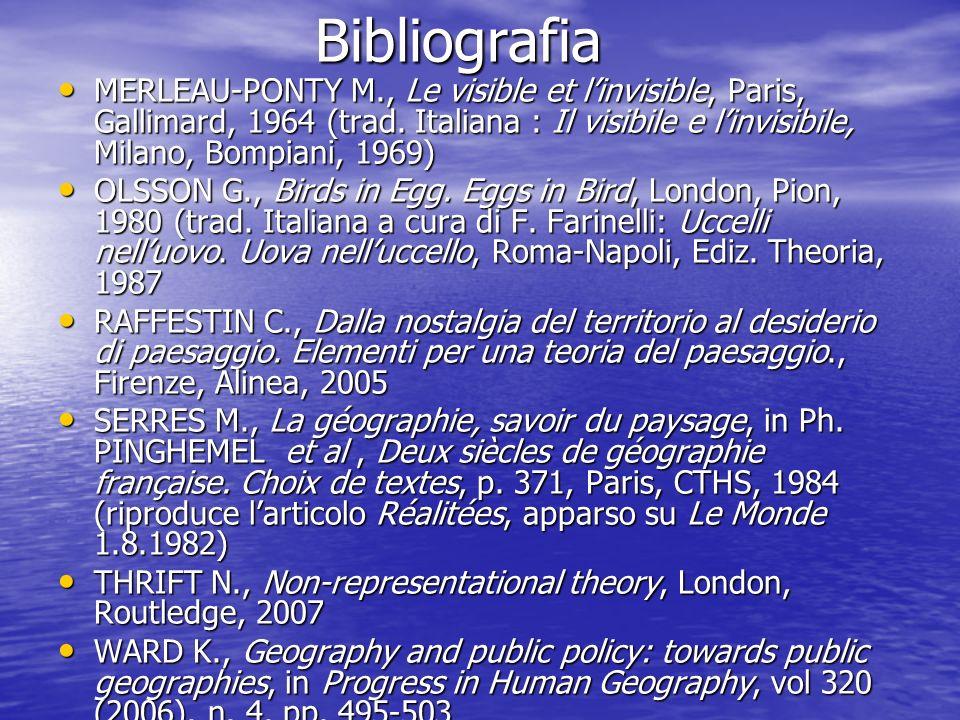 Bibliografia Bibliografia MERLEAU-PONTY M., Le visible et linvisible, Paris, Gallimard, 1964 (trad. Italiana : Il visibile e linvisibile, Milano, Bomp