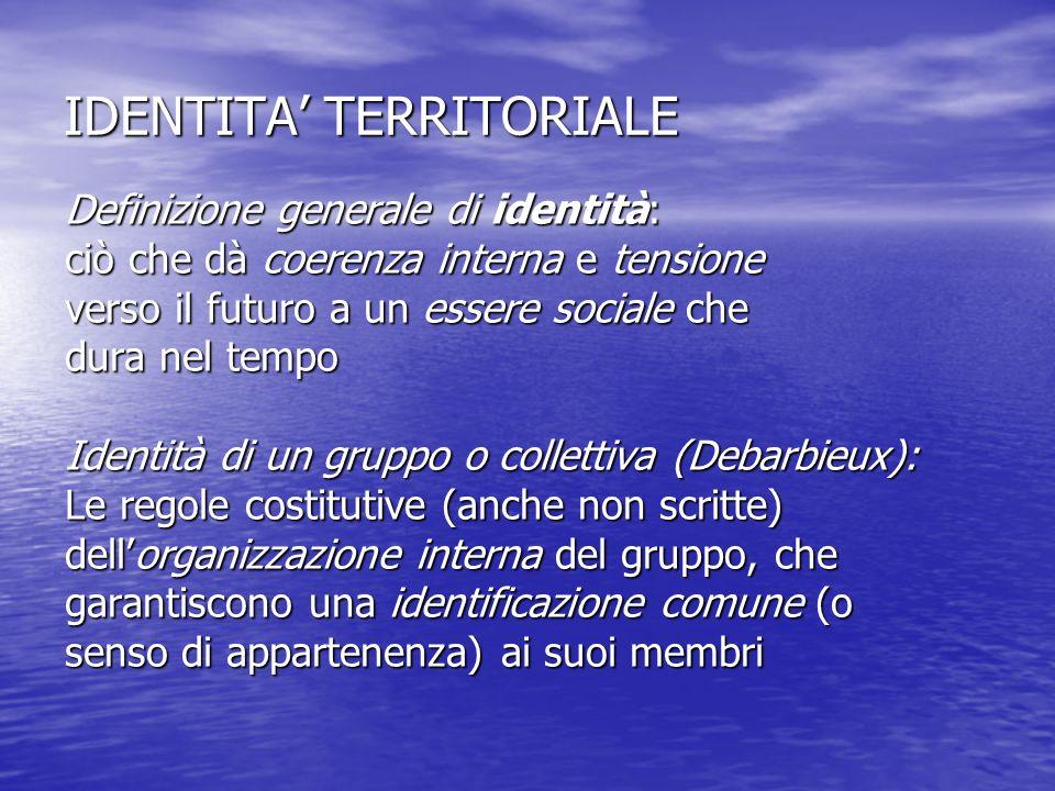 IDENTITA TERRITORIALE Definizione generale di identità: ciò che dà coerenza interna e tensione verso il futuro a un essere sociale che dura nel tempo