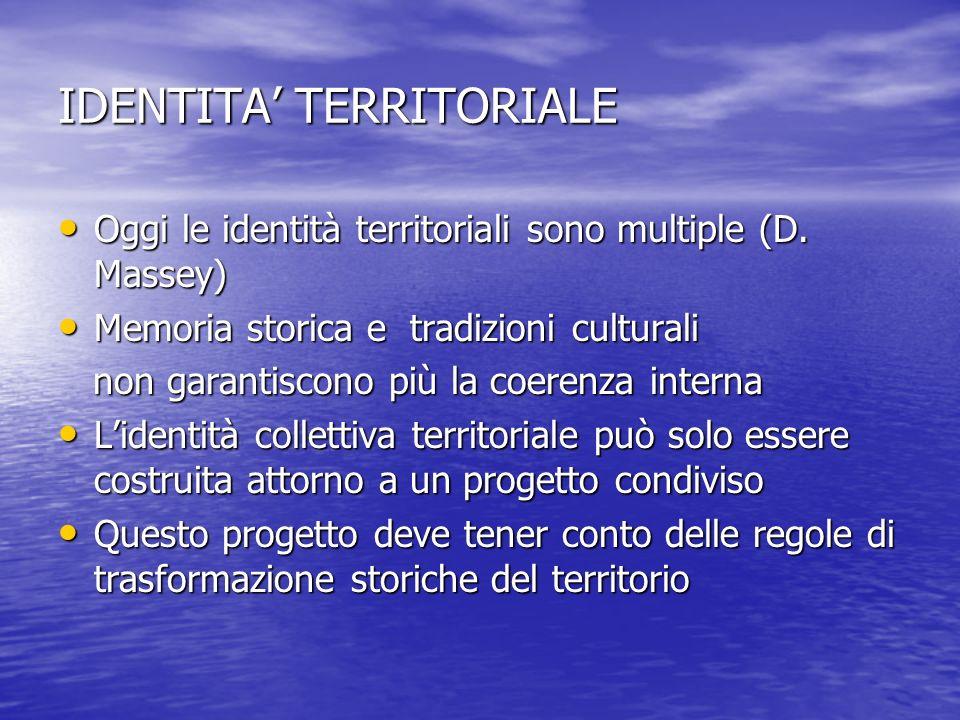IDENTITA TERRITORIALE Oggi le identità territoriali sono multiple (D. Massey) Oggi le identità territoriali sono multiple (D. Massey) Memoria storica