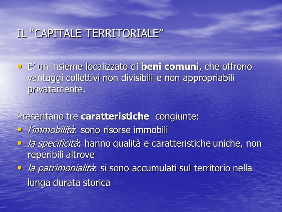 IL CAPITALE TERRITORIALE E un insieme localizzato di beni comuni, che offrono vantaggi collettivi non divisibili e non appropriabili privatamente. E u