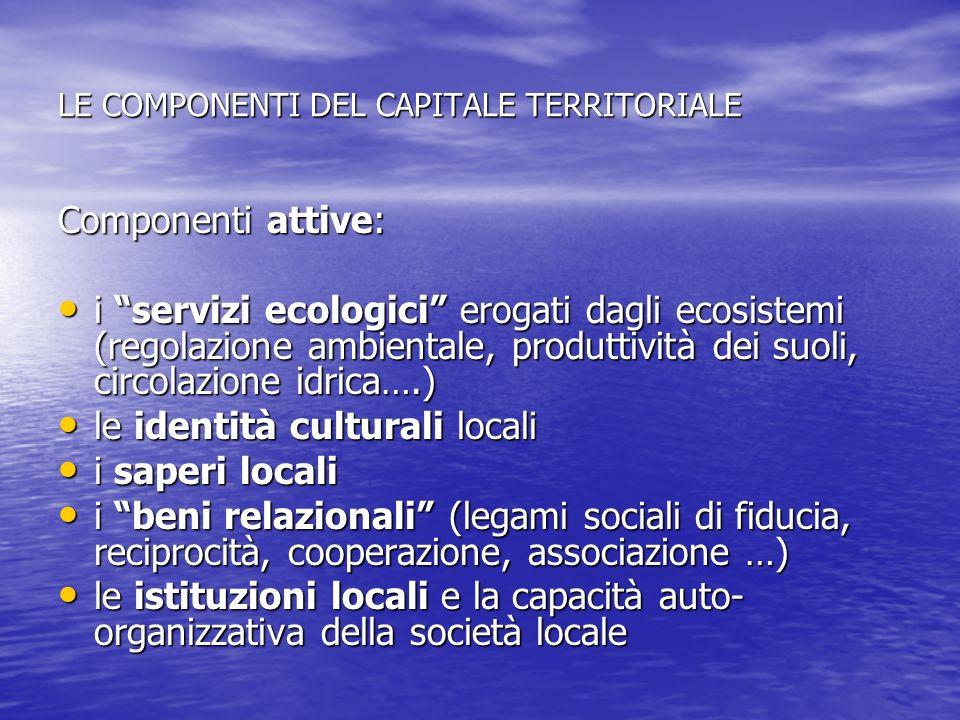 LE COMPONENTI DEL CAPITALE TERRITORIALE Componenti attive: i servizi ecologici erogati dagli ecosistemi (regolazione ambientale, produttività dei suol
