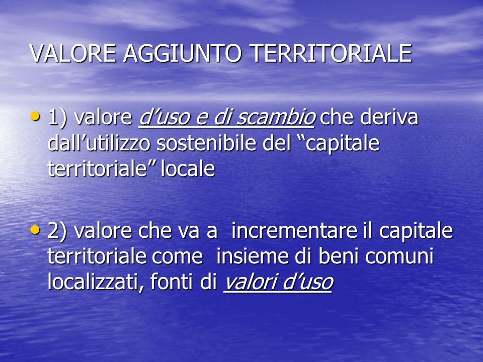 VALORE AGGIUNTO TERRITORIALE 1) valore duso e di scambio che deriva dallutilizzo sostenibile del capitale territoriale locale 1) valore duso e di scam