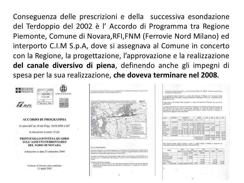 Conseguenza delle prescrizioni e della successiva esondazione del Terdoppio del 2002 è l Accordo di Programma tra Regione Piemonte, Comune di Novara,RFI,FNM (Ferrovie Nord Milano) ed interporto C.I.M S.p.A, dove si assegnava al Comune in concerto con la Regione, la progettazione, lapprovazione e la realizzazione del canale diversivo di piena, definendo anche gli impegni di spesa per la sua realizzazione, che doveva terminare nel 2008.