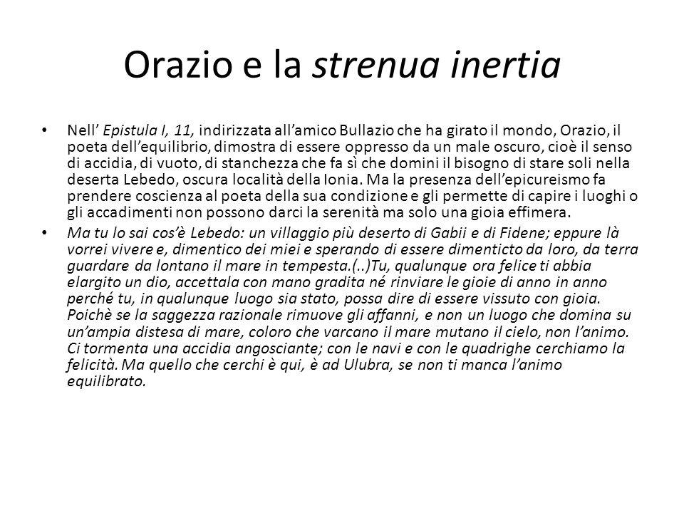 Orazio e la strenua inertia Nell Epistula I, 11, indirizzata allamico Bullazio che ha girato il mondo, Orazio, il poeta dellequilibrio, dimostra di es