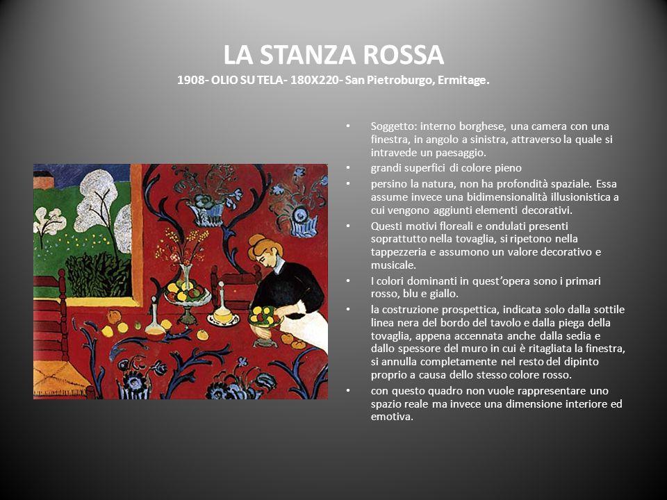 LA STANZA ROSSA 1908- OLIO SU TELA- 180X220- San Pietroburgo, Ermitage. Soggetto: interno borghese, una camera con una finestra, in angolo a sinistra,