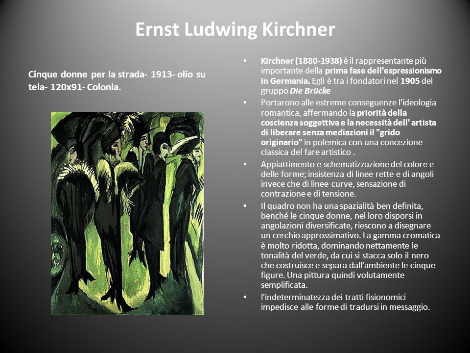 Ernst Ludwing Kirchner Cinque donne per la strada- 1913- olio su tela- 120x91- Colonia. Kirchner (1880-1938) è il rappresentante più importante della