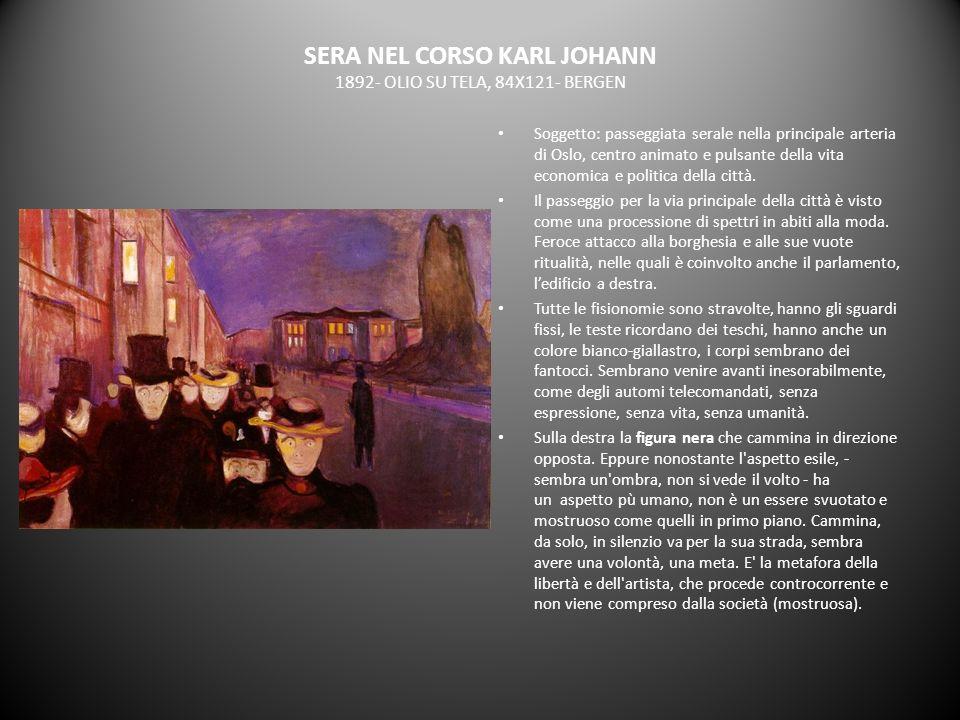SERA NEL CORSO KARL JOHANN 1892- OLIO SU TELA, 84X121- BERGEN Soggetto: passeggiata serale nella principale arteria di Oslo, centro animato e pulsante