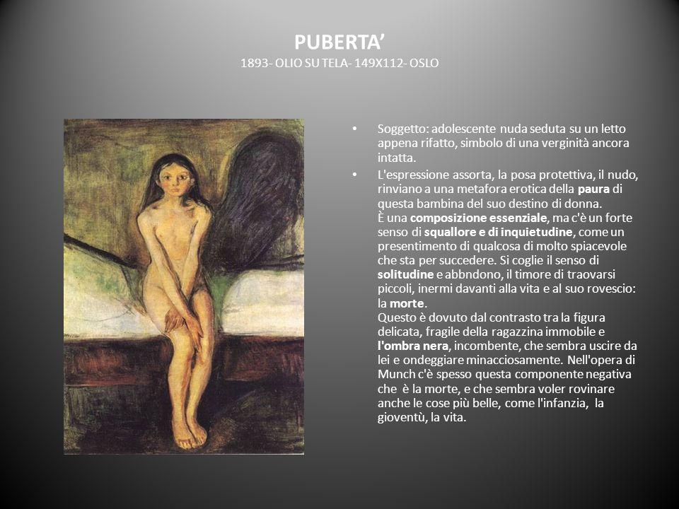 PUBERTA 1893- OLIO SU TELA- 149X112- OSLO Soggetto: adolescente nuda seduta su un letto appena rifatto, simbolo di una verginità ancora intatta. L'esp