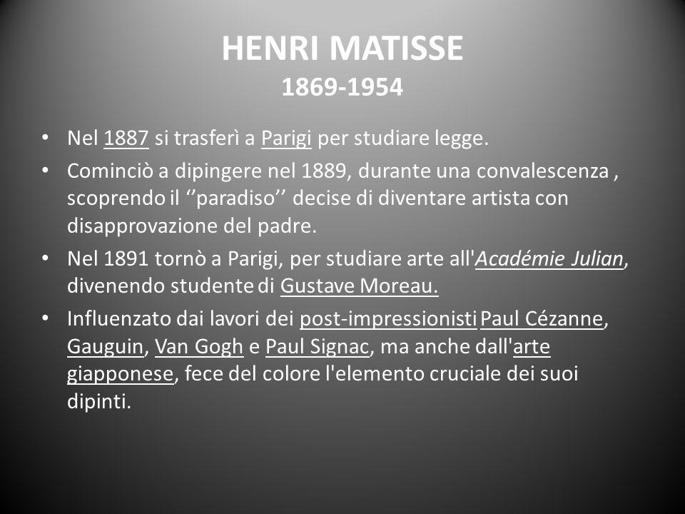 HENRI MATISSE 1869-1954 Nel 1887 si trasferì a Parigi per studiare legge. Cominciò a dipingere nel 1889, durante una convalescenza, scoprendo il parad