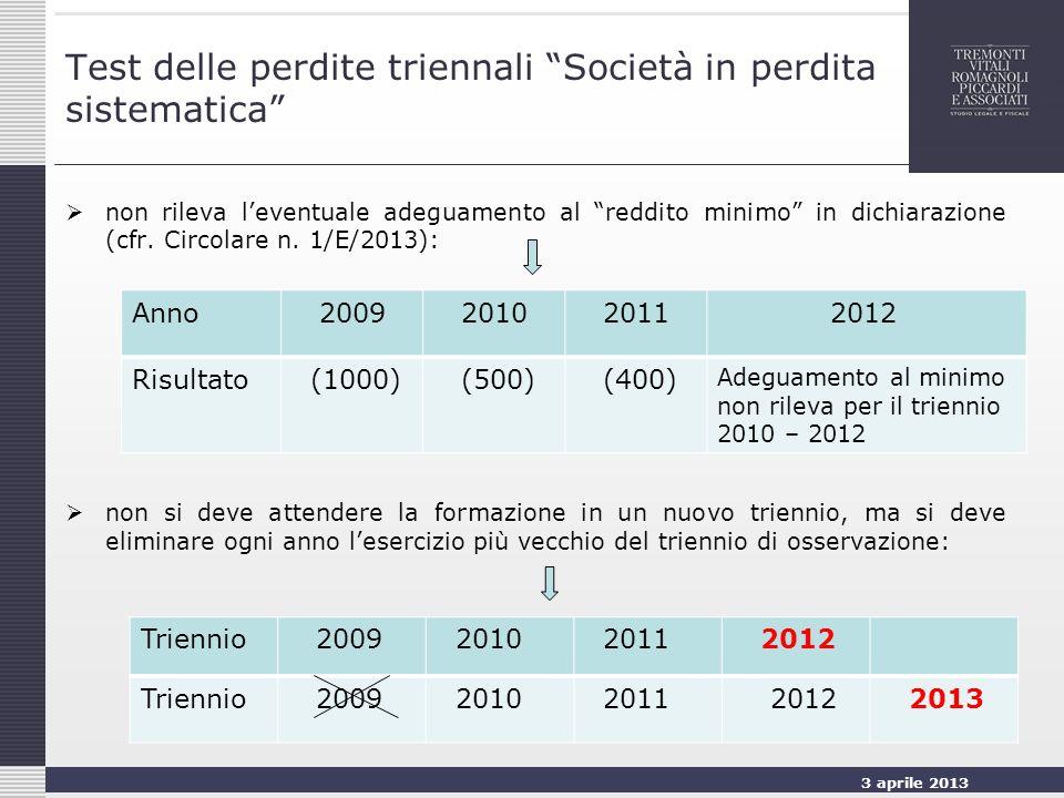 3 aprile 2013 15 Test delle perdite triennali Società in perdita sistematica non rileva leventuale adeguamento al reddito minimo in dichiarazione (cfr.