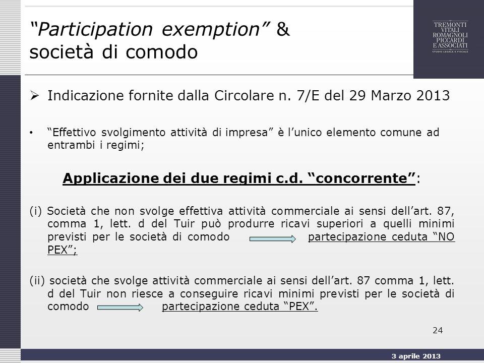 3 aprile 2013 24 Participation exemption & società di comodo Indicazione fornite dalla Circolare n.