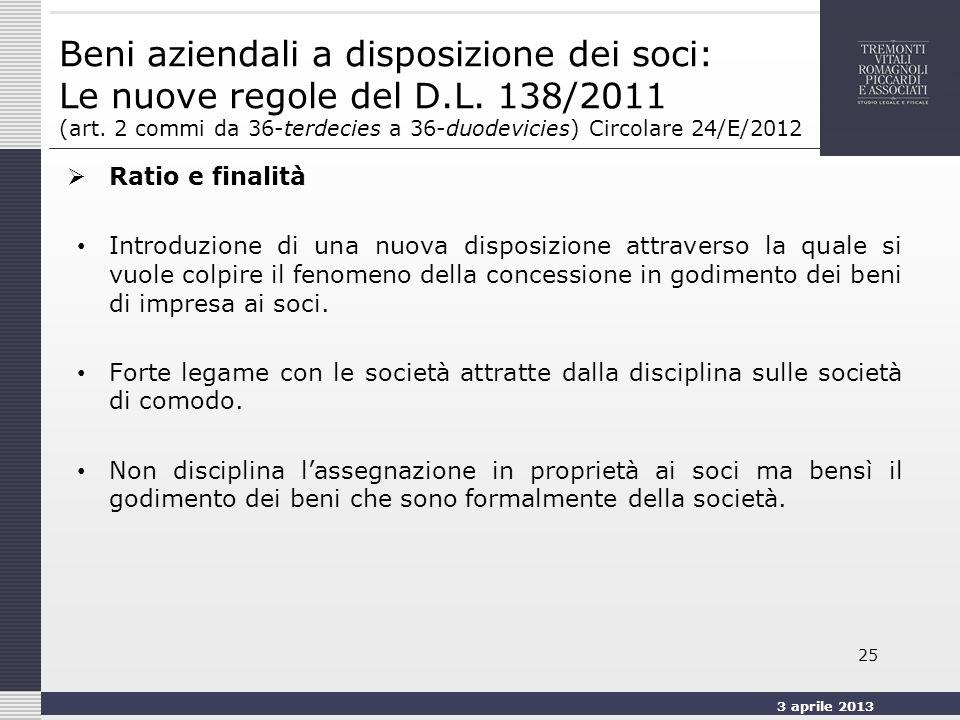 3 aprile 2013 25 Beni aziendali a disposizione dei soci: Le nuove regole del D.L.