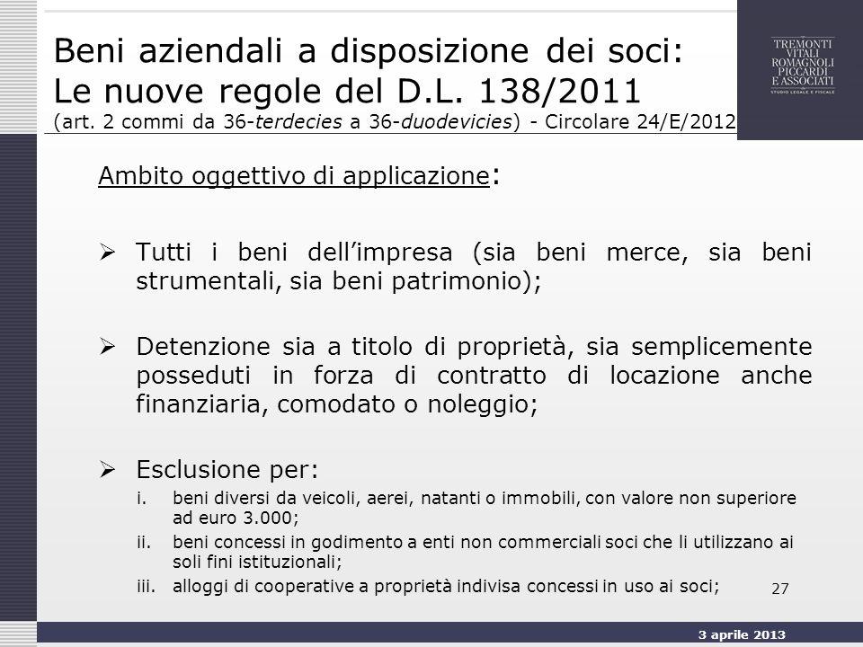 3 aprile 2013 27 Beni aziendali a disposizione dei soci: Le nuove regole del D.L.