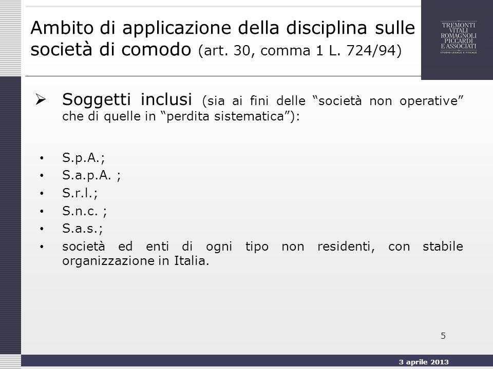 3 aprile 2013 5 Ambito di applicazione della disciplina sulle società di comodo (art.