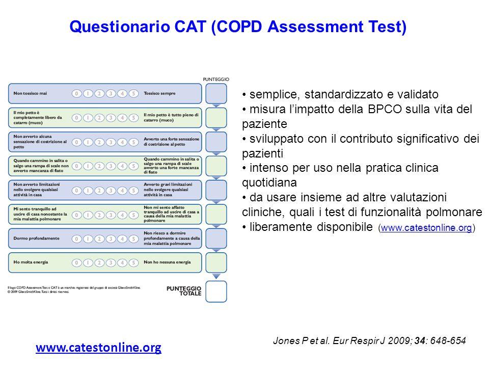 www.catestonline.org semplice, standardizzato e validato misura limpatto della BPCO sulla vita del paziente sviluppato con il contributo significativo