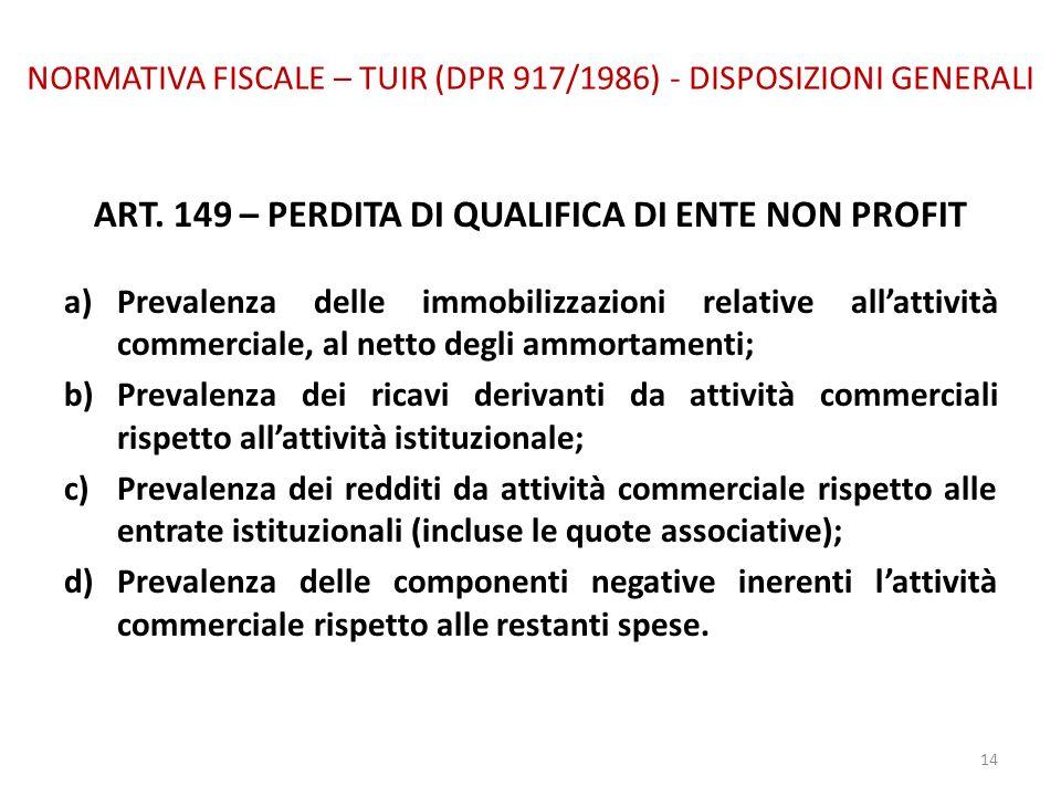NORMATIVA FISCALE – TUIR (DPR 917/1986) - DISPOSIZIONI GENERALI ART. 149 – PERDITA DI QUALIFICA DI ENTE NON PROFIT a)Prevalenza delle immobilizzazioni