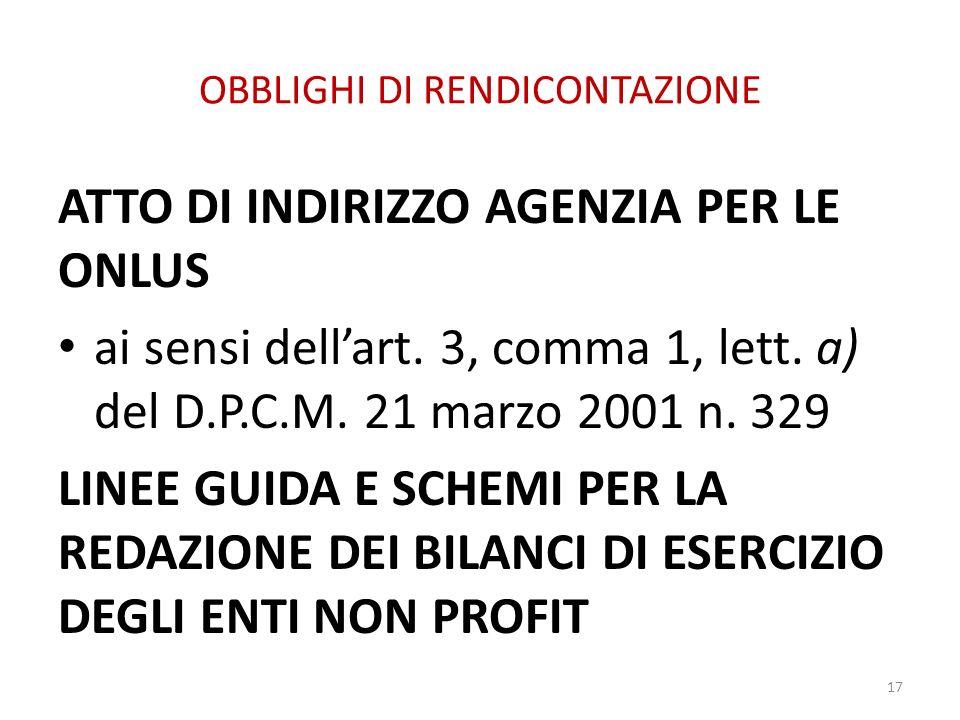 OBBLIGHI DI RENDICONTAZIONE ATTO DI INDIRIZZO AGENZIA PER LE ONLUS ai sensi dellart. 3, comma 1, lett. a) del D.P.C.M. 21 marzo 2001 n. 329 LINEE GUID