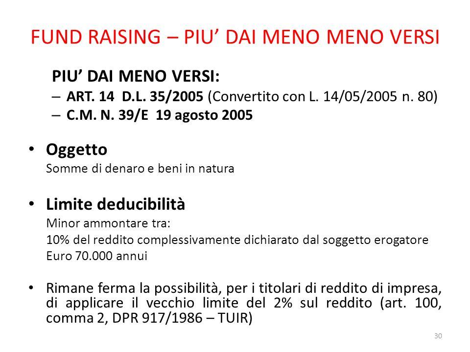 FUND RAISING – PIU DAI MENO MENO VERSI PIU DAI MENO VERSI: – ART. 14 D.L. 35/2005 (Convertito con L. 14/05/2005 n. 80) – C.M. N. 39/E 19 agosto 2005 O
