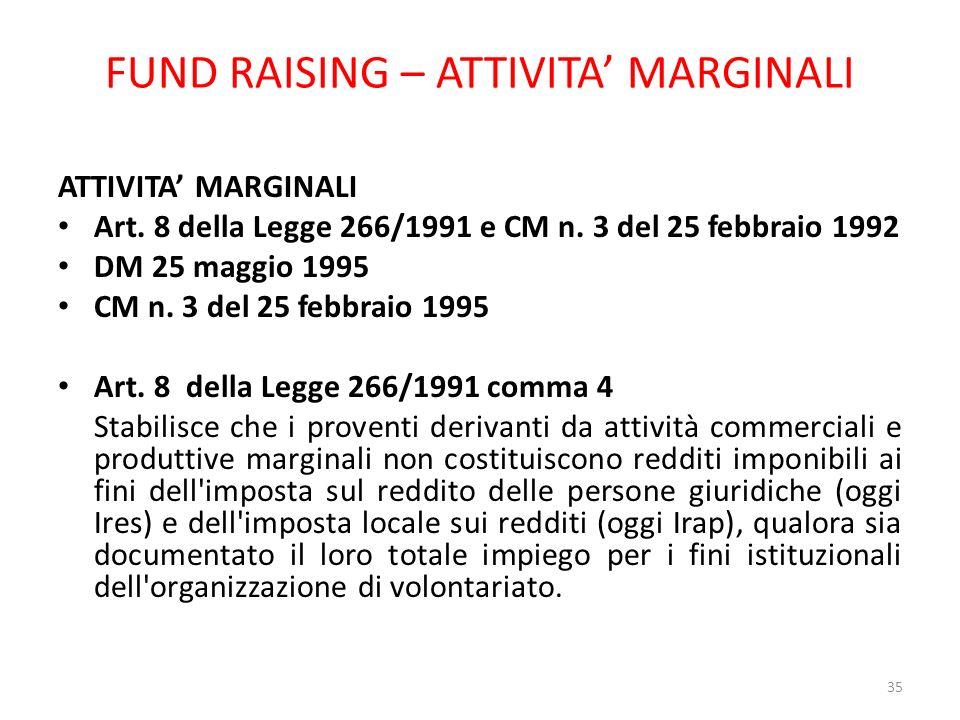 FUND RAISING – ATTIVITA MARGINALI ATTIVITA MARGINALI Art. 8 della Legge 266/1991 e CM n. 3 del 25 febbraio 1992 DM 25 maggio 1995 CM n. 3 del 25 febbr