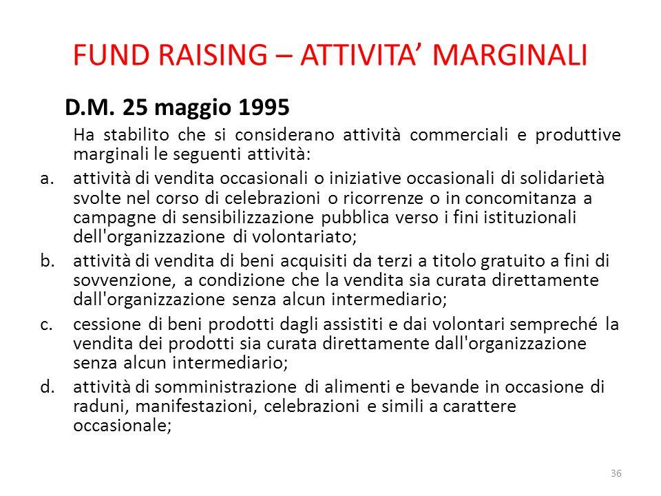 FUND RAISING – ATTIVITA MARGINALI D.M. 25 maggio 1995 Ha stabilito che si considerano attività commerciali e produttive marginali le seguenti attività