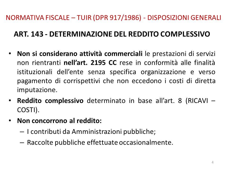 NORMATIVA FISCALE – TUIR (DPR 917/1986) - DISPOSIZIONI GENERALI ART. 143 - DETERMINAZIONE DEL REDDITO COMPLESSIVO Non si considerano attività commerci