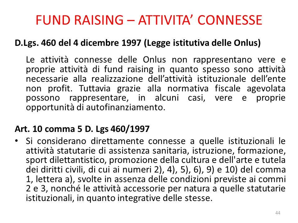 FUND RAISING – ATTIVITA CONNESSE D.Lgs. 460 del 4 dicembre 1997 (Legge istitutiva delle Onlus) Le attività connesse delle Onlus non rappresentano vere