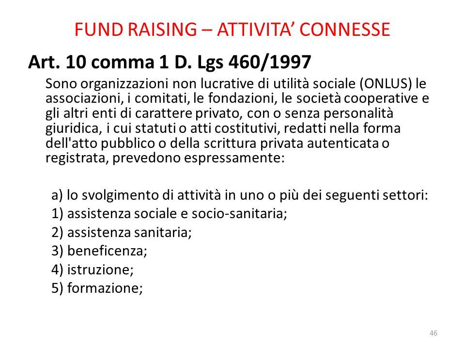 FUND RAISING – ATTIVITA CONNESSE Art. 10 comma 1 D. Lgs 460/1997 Sono organizzazioni non lucrative di utilità sociale (ONLUS) le associazioni, i comit