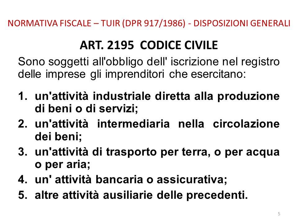 NORMATIVA FISCALE – TUIR (DPR 917/1986) - DISPOSIZIONI GENERALI ART. 2195 CODICE CIVILE Sono soggetti all'obbligo dell' iscrizione nel registro delle