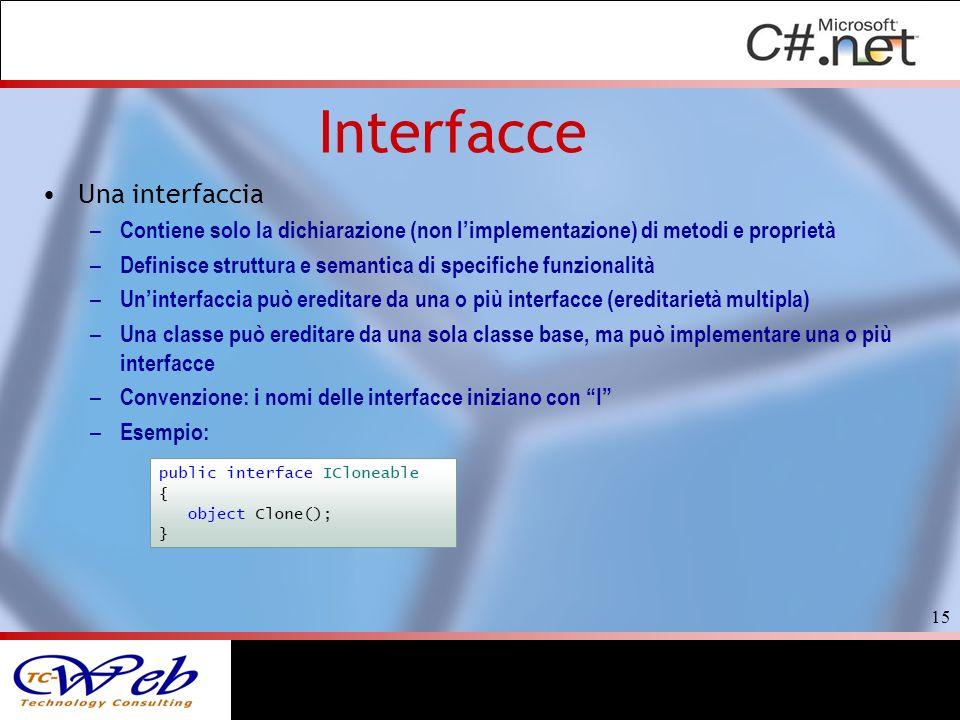 Interfacce Una interfaccia – Contiene solo la dichiarazione (non limplementazione) di metodi e proprietà – Definisce struttura e semantica di specific