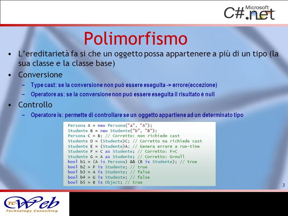 Polimorfismo Lereditarietà fa si che un oggetto possa appartenere a più di un tipo (la sua classe e la classe base) Conversione – Type cast: se la con