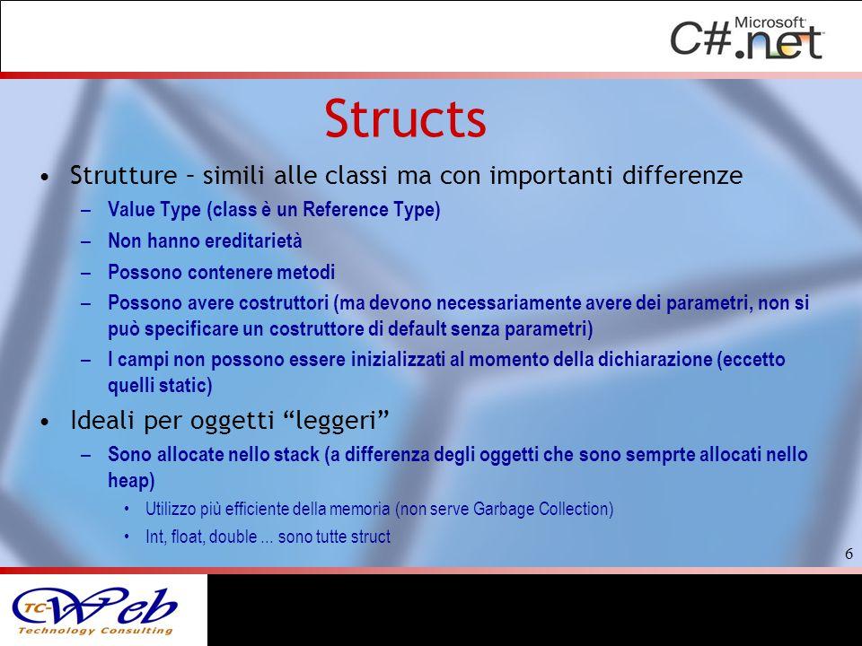 Structs Strutture – simili alle classi ma con importanti differenze – Value Type (class è un Reference Type) – Non hanno ereditarietà – Possono conten