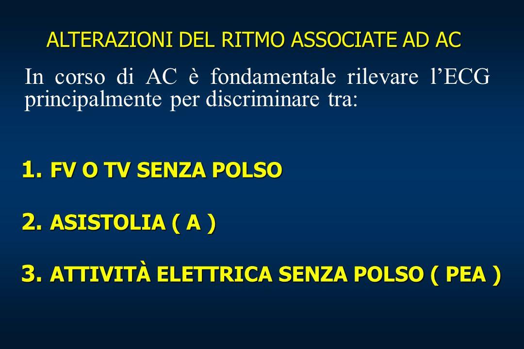 1. FV O TV SENZA POLSO 2. ASISTOLIA ( A ) 3. ATTIVITÀ ELETTRICA SENZA POLSO ( PEA ) ALTERAZIONI DEL RITMO ASSOCIATE AD AC In corso di AC è fondamental