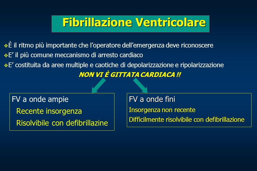Fibrillazione Ventricolare Fibrillazione Ventricolare FV a onde ampie Recente insorgenza Risolvibile con defibrillazine FV a onde fini Insorgenza non