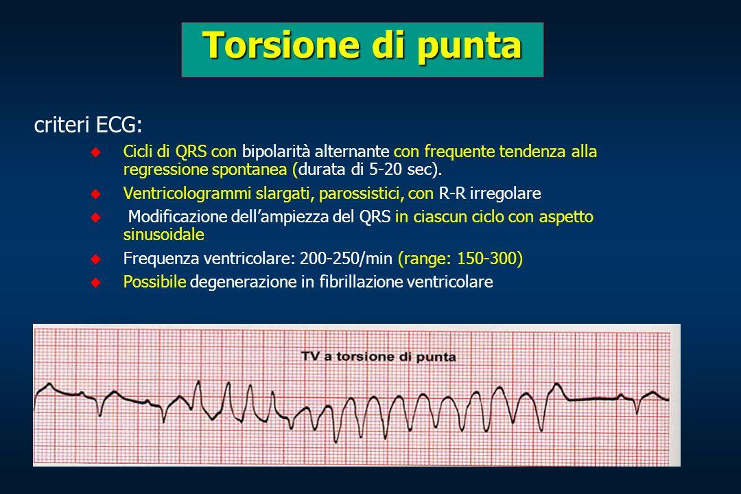 criteri ECG: Cicli di QRS con bipolarità alternante con frequente tendenza alla regressione spontanea (durata di 5-20 sec). Ventricologrammi slargati,