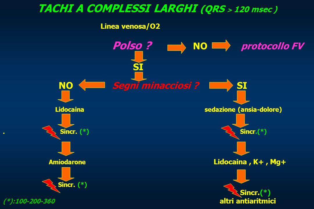 TACHI A COMPLESSI LARGHI (QRS > 120 msec ) Linea venosa/O2 Polso ? NO protocollo FV SI NO Segni minacciosi ? SI Lidocaina sedazione (ansia-dolore). Si