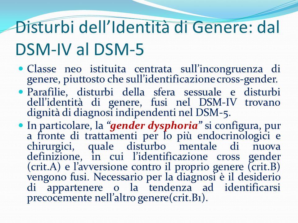 Disturbi dellIdentità di Genere: dal DSM-IV al DSM-5 Classe neo istituita centrata sullincongruenza di genere, piuttosto che sullidentificazione cross