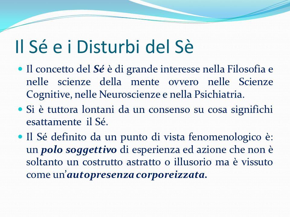 Il Sé e i Disturbi del Sè Il concetto del Sé è di grande interesse nella Filosofia e nelle scienze della mente ovvero nelle Scienze Cognitive, nelle N
