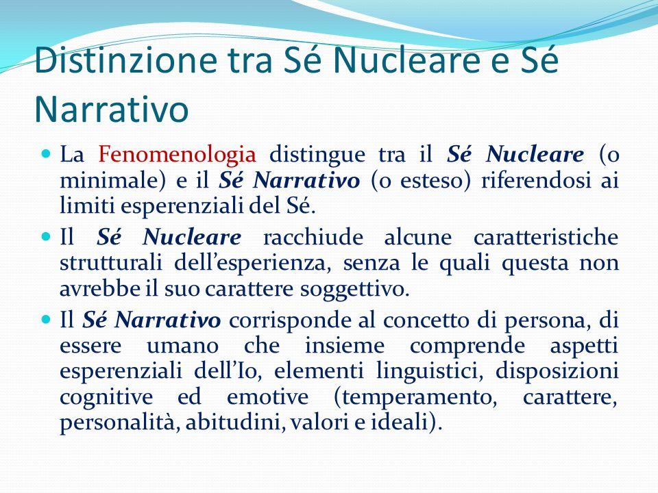 Distinzione tra Sé Nucleare e Sé Narrativo La Fenomenologia distingue tra il Sé Nucleare (o minimale) e il Sé Narrativo (o esteso) riferendosi ai limi