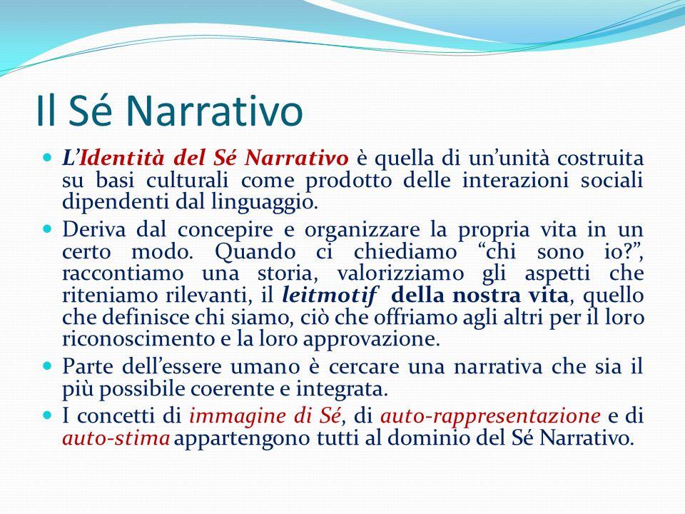 Il Sé Narrativo LIdentità del Sé Narrativo è quella di ununità costruita su basi culturali come prodotto delle interazioni sociali dipendenti dal ling