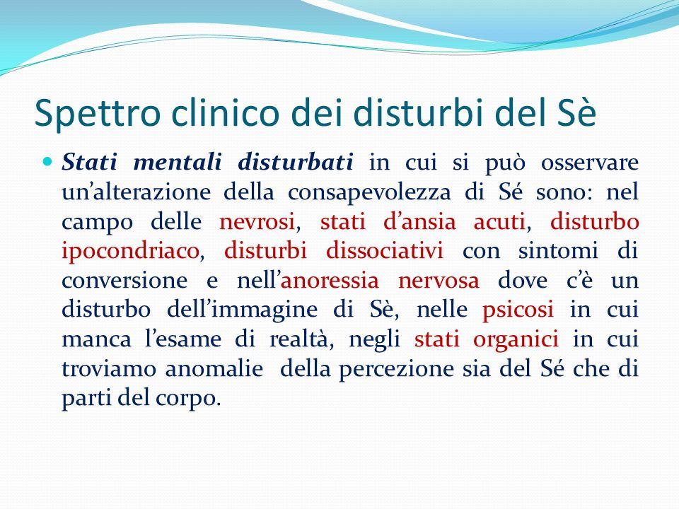 Spettro clinico dei disturbi del Sè Stati mentali disturbati in cui si può osservare unalterazione della consapevolezza di Sé sono: nel campo delle ne