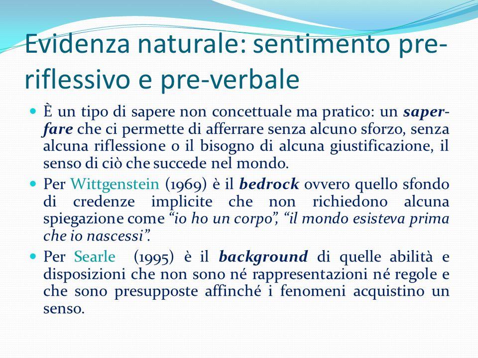 Evidenza naturale: sentimento pre- riflessivo e pre-verbale È un tipo di sapere non concettuale ma pratico: un saper- fare che ci permette di afferrar