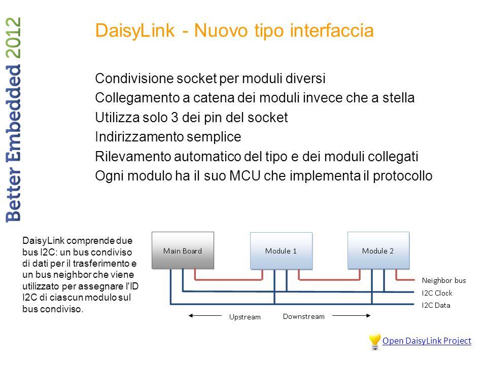DaisyLink - Nuovo tipo interfaccia Condivisione socket per moduli diversi Collegamento a catena dei moduli invece che a stella Utilizza solo 3 dei pin del socket Indirizzamento semplice Rilevamento automatico del tipo e dei moduli collegati Ogni modulo ha il suo MCU che implementa il protocollo DaisyLink comprende due bus I2C: un bus condiviso di dati per il trasferimento e un bus neighbor che viene utilizzato per assegnare l ID I2C di ciascun modulo sul bus condiviso.