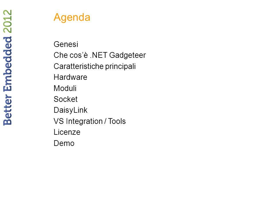 Agenda Genesi Che cosè.NET Gadgeteer Caratteristiche principali Hardware Moduli Socket DaisyLink VS Integration / Tools Licenze Demo