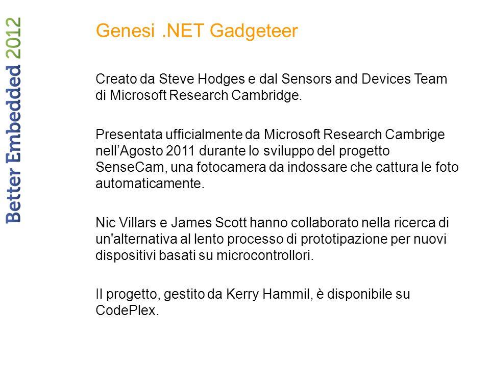 Genesi.NET Gadgeteer Creato da Steve Hodges e dal Sensors and Devices Team di Microsoft Research Cambridge.